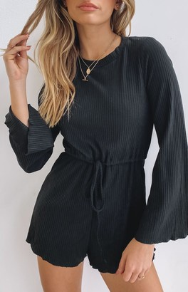 Beginning Boutique Mustang Long Sleeve Ribbed Playsuit Black