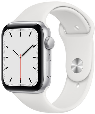 Apple Watch SE GPS, 44mm Silver Aluminum Case with White Sport Band - Regular