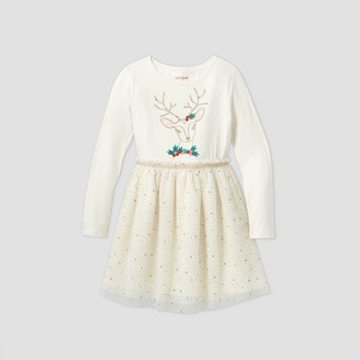 Cat & Jack Girls' Long Sleeve Reindeer Tulle Dress - Cat & JackTM