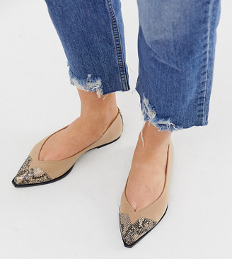 BEIGE Asos Design ASOS DESIGN Wide Fit Legend pointed toe cap ballet flats in snake mix-Multi