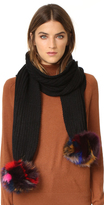 Jocelyn Knit Scarf with Fox Fur Pom Pom