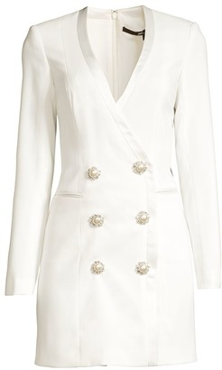 Jay Godfrey Embellished Buttons Tuxedo Dress