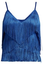 Norma Kamali Tiered-fringe Stretch-jersey Crop Top - Womens - Blue