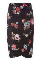 Dorothy Perkins Womens Black Bloom Floral Midi Skirt- Black