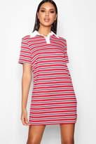 boohoo Cecilia Stripe Rib Polo T Shirt Dress