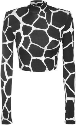 The Andamane Estelle Printed Jersey Crop Top