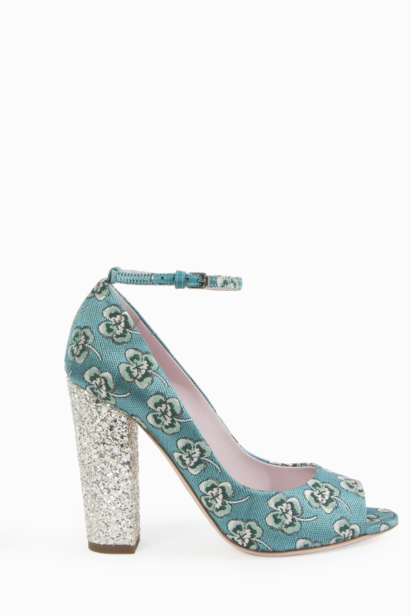 Giamba Floral Brocade Mary Jane Heels