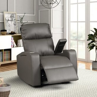 Latitude Run Tudor Leather Power Recliner Upholstery Color: Gray