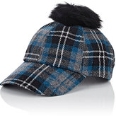 Hat Attack WOMEN'S FUR POM-POM FLANNEL BASEBALL CAP-BLUE