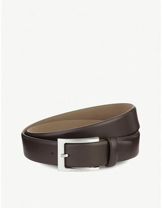 HUGO BOSS Barnabie leather belt, Mens, Size: 32, Dark brown