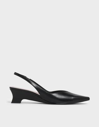 Charles & Keith V-Cut Low Sculptural Heel Slingback Pumps