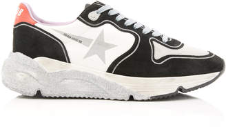Golden Goose Running Sole Glittered Leather And Neoprene Sneakers Size