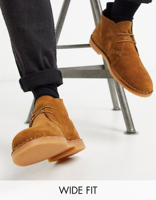 Dune wide fit suede desert boot in tan