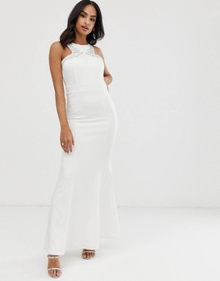 Little Mistress fluted hem embellished maxi dress-Cream