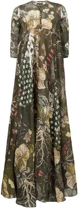 Biyan Geneta Beaded Floral-print Silk Maxi Dress - Green Multi