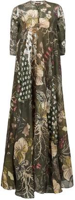 Biyan Geneta Beaded Floral-print Silk Maxi Dress - Womens - Green Multi