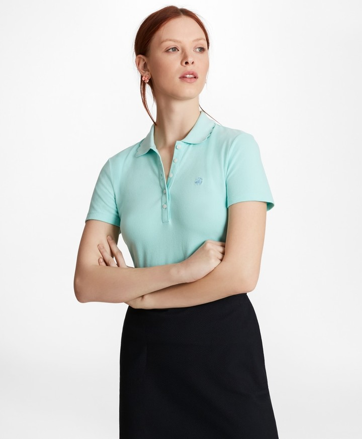 Brooks Brothers Scalloped-Collar Slim-Fit Stretch Cotton Pique Polo