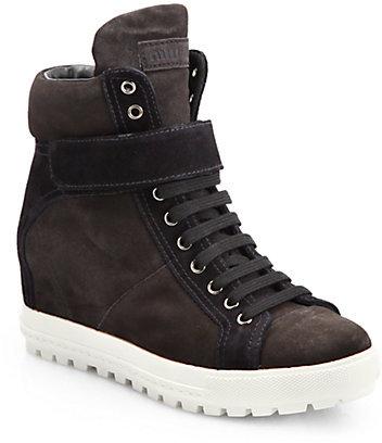Miu Miu Suede Lace-Up Wedge Sneakers