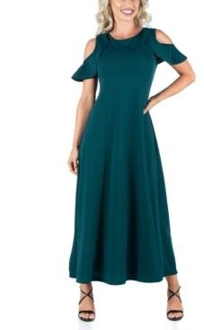 24seven Comfort Apparel Women's Ruffle Cold Shoulder A-Line Maxi Dress