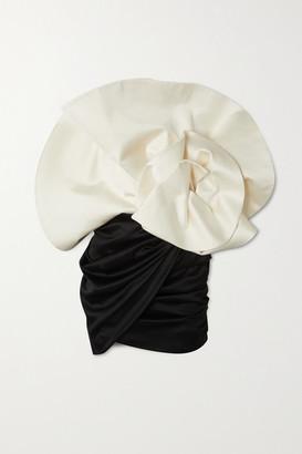 Magda Butrym Belgrade Crystal-embellished Ruffled Two-tone Silk And Wool-blend Mini Dress - Cream
