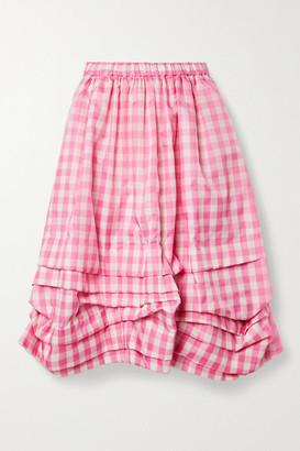 COMME DES GARÇONS GIRL Gathered Gingham Shell Midi Skirt - Pink