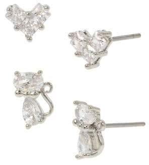Betsey Johnson 2-Pair Silvertone & Crystal Delicate Cat & Bow Stud Earrings