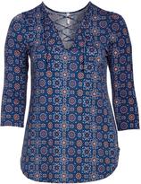 Celeste Blue Arabesque Lace-Up Tunic - Plus