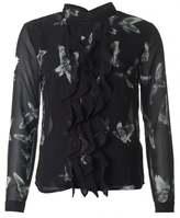 Religion Chiffon Bird Print Frill Shirt
