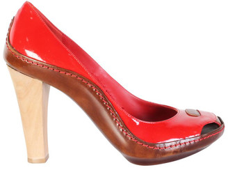 Celine Red Patent Leather Wooden Heels Pumps Size 36