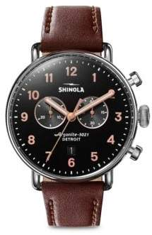 Shinola Canfield Stainless Steel Chronograph Leather-Strap Watch