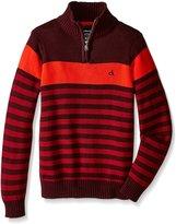 Calvin Klein Little Boys' Track Stripe Half Zip Sweater