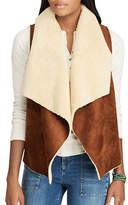 Chaps Faux Shearling and Faux Suede Open-Front Vest