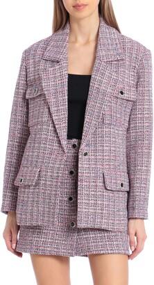 AVEC LES FILLES Tweed Crystal Button Blazer