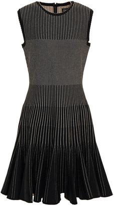 Oscar de la Renta Fluted Metallic Jacquard-knit Dress