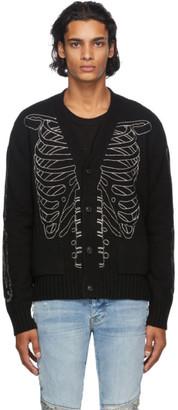 Amiri Black Intarsia Skeleton Cardigan