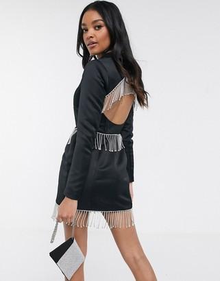 Asos Luxe ASOS DESIGN Luxe premium satin mini tux dress with rhinestone embellished fringe trim