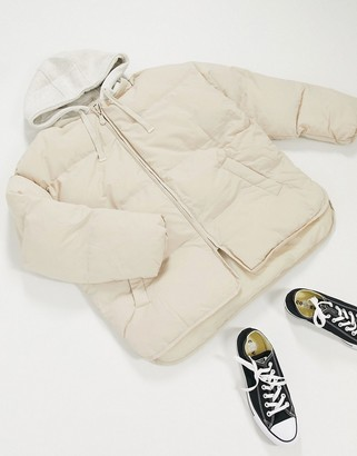 ASOS DESIGN jersey hooded puffer jacket in cream