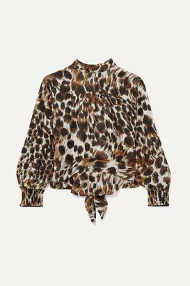 Nanushka Marjan Open-back Leopard-print Plissé-chiffon Blouse - Leopard print