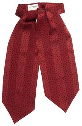 Saint Laurent Spot-print Jacquard-striped Silk Lavalliere - Red Multi