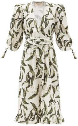 Adriana Degreas Floral-print Plunge-neck Cotton Midi Dress - Cream Print