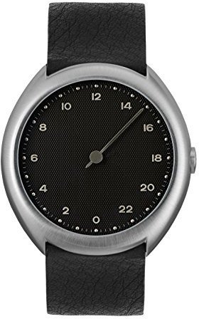 Slow O 05 - Black Leather Silver Case Black Dial Unisex Quartz Watch with Black Dial Analogue Display and Black Leather Strap