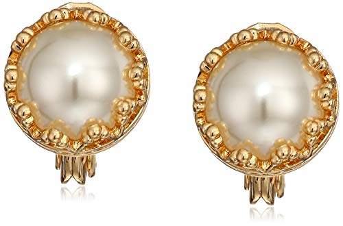 Anne Klein Women's Gold Tone Stud Clip On Earrings