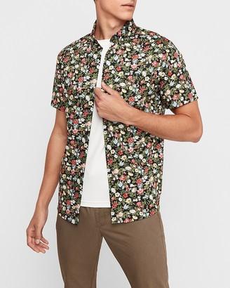 Express Classic Floral Print Short Sleeve Button-Down Shirt