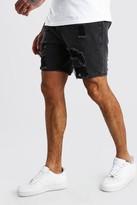 boohoo Mens Grey Slim Fit Heavily Distressed Denim Short, Grey