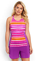 Classic Women's Plus Size High-neck Tankini Top-Berry Stripe/Fresh Orchid