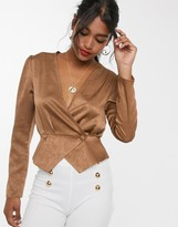 UNIQUE21 satin wrap front cropped jacket