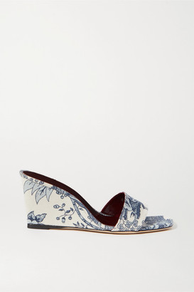 STAUD Billie Printed Canvas Wedge Sandals - Off-white