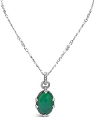 Judith Ripka Sterling Green Goddess Doublet Enhancer w/ Chain
