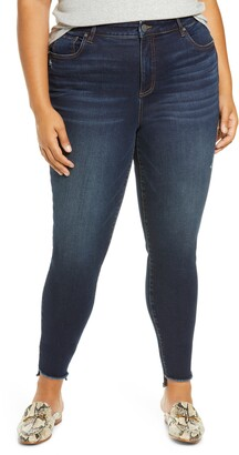 KUT from the Kloth Connie High Waist Fringe Step Hem Skinny Jeans