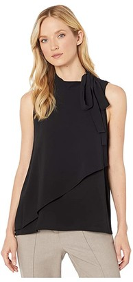 Vince Camuto Sleeveless Tie Neck Front Overlay Soft Texture Blouse (Rich Black) Women's Clothing